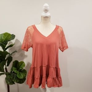 Easel Peach Lace Tunic Top